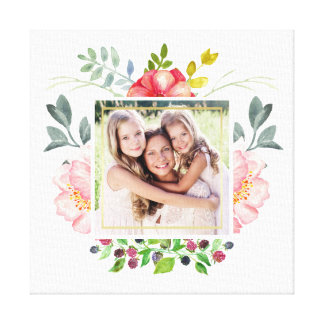 Watercolor Peony Flowers with your Photo Canvas Print