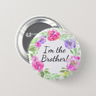 Watercolor Peony New Baby Shower Brother Name Tag 6 Cm Round Badge