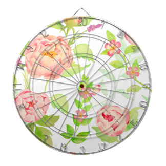 Watercolor peony pattern dart board