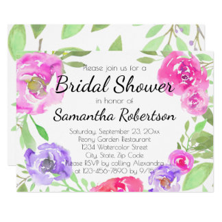 Watercolor Peony Pink Green Floral Bridal Shower Card