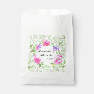 Watercolor Peony Pink Green Floral Wedding Favour Bags