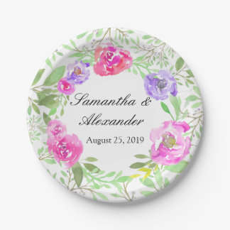Watercolor Peony Pink Green Floral Wedding Paper Plate