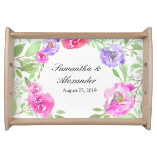 Watercolor Peony Pink Green Floral Wedding Serving Tray
