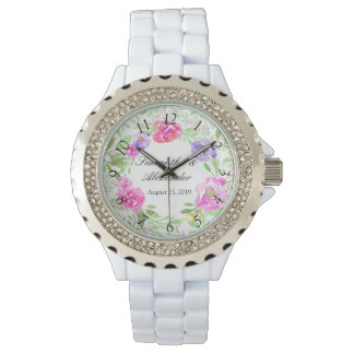 Watercolor Peony Pink Green Floral Wedding Watch