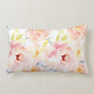 Watercolor Peony Pink Watercolor Flower Lumbar Pillow