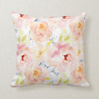 Watercolor Peony Pink Watercolor Flower Throw Pillow