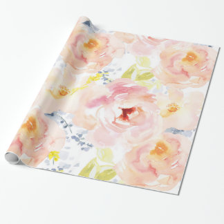 Watercolor Peony Pink Watercolor Flower Wrapping Paper