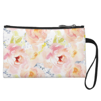 Watercolor Peony Pink Watercolor Flower Wristlet