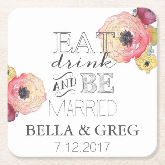 Watercolor Peony Wedding Coaster