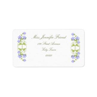 Watercolor Periwinkle Blooms Label