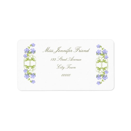 Watercolor Periwinkle Blooms Label