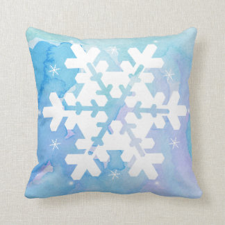 Watercolor Pillow: Frozen Snowflake Cushion