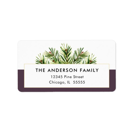 Watercolor Pine Branches Christmas Return Address Address Label