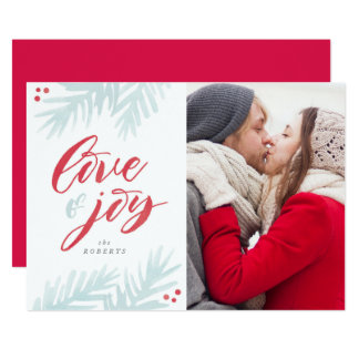 Watercolor Pine Brush Love and Joy Holiday Card