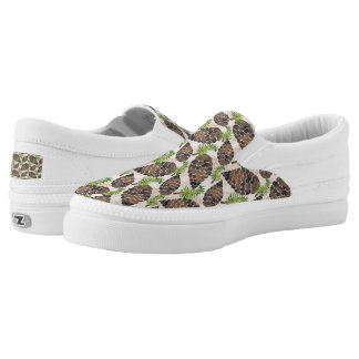 Watercolor Pine Cone Pattern Slip On Shoes