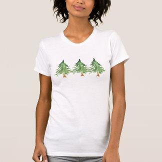 Watercolor Pine Trees Rustic Winter Green Cusom T-Shirt