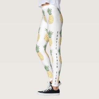 Watercolor Pineapple Exotic Beach Time Leggings