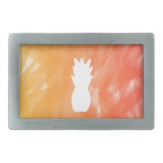 Watercolor pineapple - orange/red rectangular belt buckles