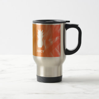 Watercolor pineapple - orange/red travel mug