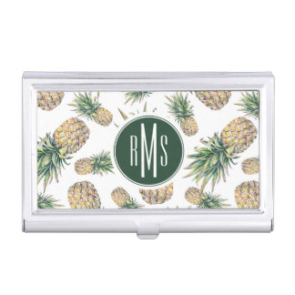 Watercolor Pineapple Pattern Business Card Holder
