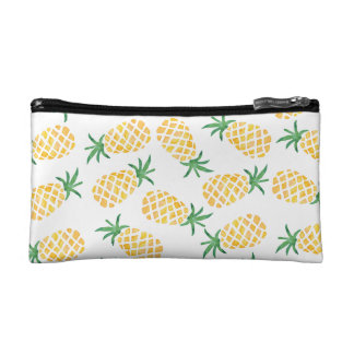 Watercolor pineapple pattern cosmetics case