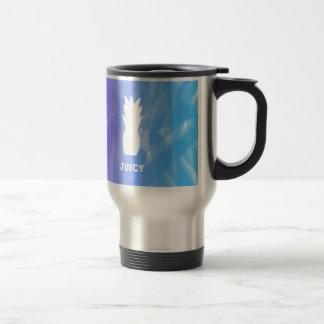 Watercolor pineapple - purple/blue travel mug