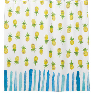 Watercolor Pineapple Stripe Shower Curtain