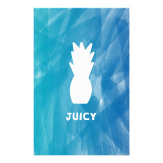 Watercolor Pineapple - teal Stationery