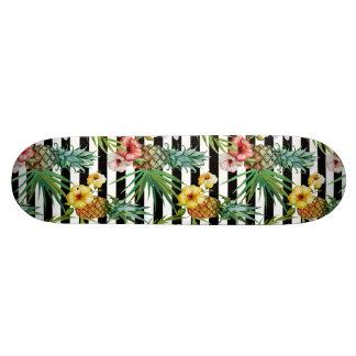 Watercolor pineapple tropical flower black stripes 20.6 cm skateboard deck