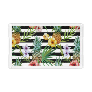 Watercolor pineapple tropical flower black stripes acrylic tray