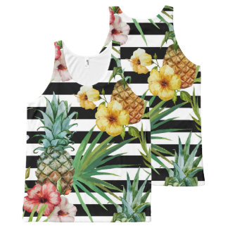 Watercolor pineapple tropical flower black stripes All-Over print singlet