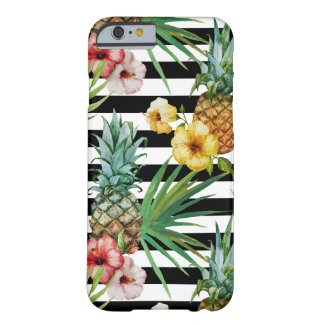 Watercolor pineapple tropical flower black stripes barely there iPhone 6 case