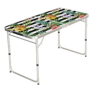 Watercolor pineapple tropical flower black stripes beer pong table