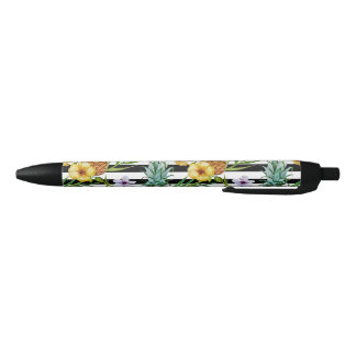 Watercolor pineapple tropical flower black stripes black ink pen