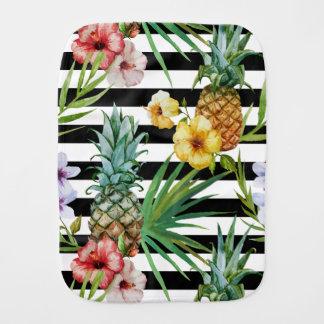 Watercolor pineapple tropical flower black stripes burp cloth