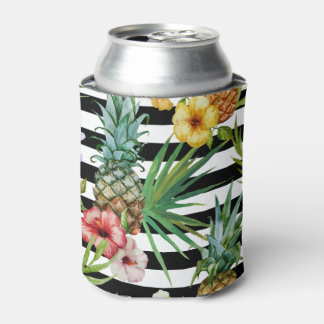 Watercolor pineapple tropical flower black stripes can cooler