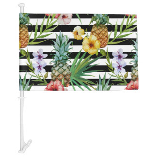 Watercolor pineapple tropical flower black stripes car flag