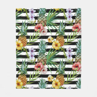 Watercolor pineapple tropical flower black stripes fleece blanket