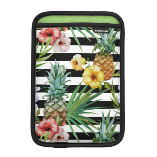 Watercolor pineapple tropical flower black stripes iPad mini sleeve