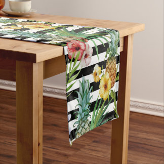 Watercolor pineapple tropical flower black stripes short table runner