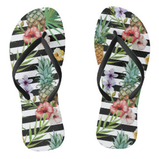 Watercolor pineapple tropical flower black stripes thongs