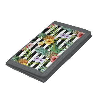 Watercolor pineapple tropical flower black stripes tri-fold wallets