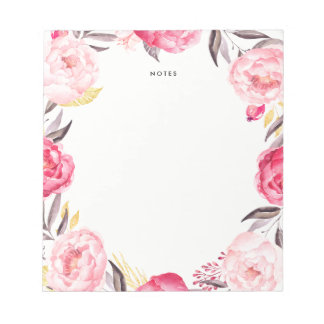Watercolor Pink and Gold Peonies Wreath Notepad