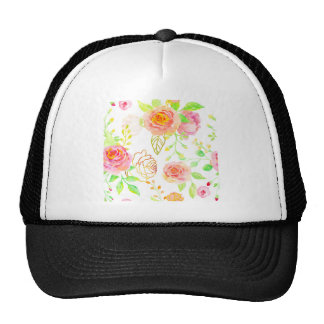 Watercolor Pink and Gold Rose Pattern Cap