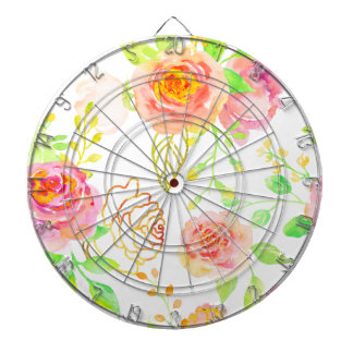 Watercolor Pink and Gold Rose Pattern Dartboard