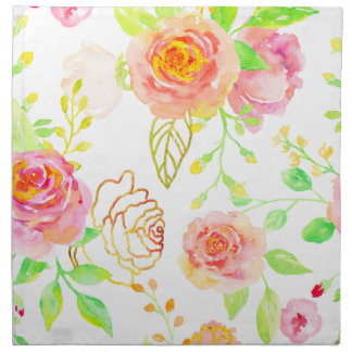 Watercolor Pink and Gold Rose Pattern Napkin
