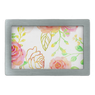 Watercolor Pink and Gold Rose Pattern Rectangular Belt Buckle