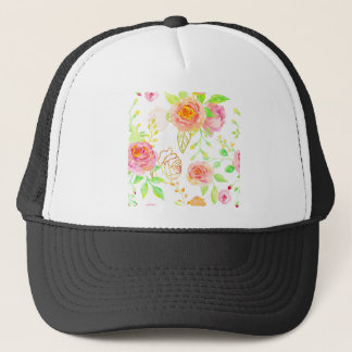 Watercolor Pink and Gold Rose Pattern Trucker Hat