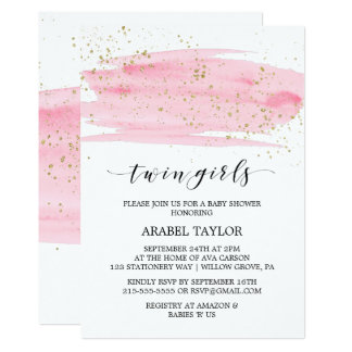 Watercolor Pink and Gold Twin Girls Baby Shower Card