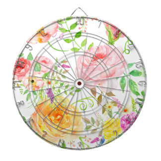 Watercolor pink and peach rose pattern dartboard